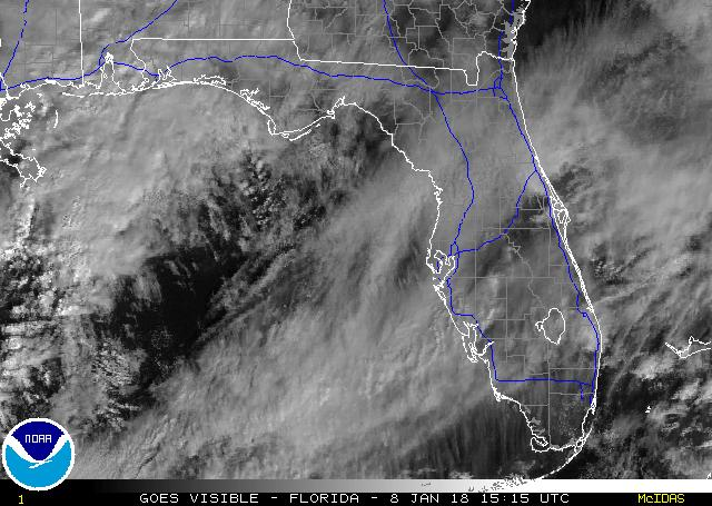 A recent visible image from GOES-12, zoomed in over Florida.  Click on the image for a larger view.