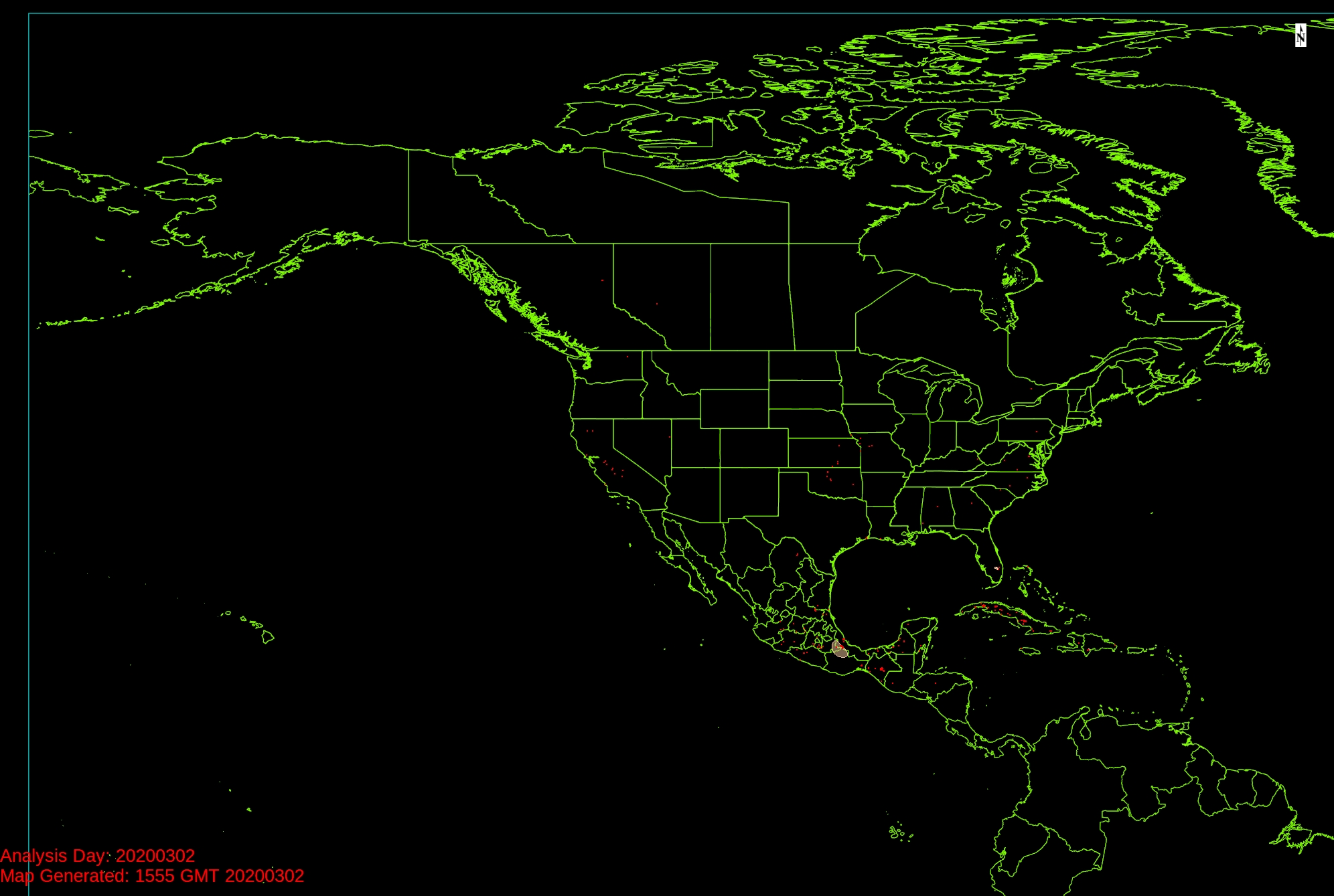 nationwide smoke plumes from NOAA Hazard Mapping System