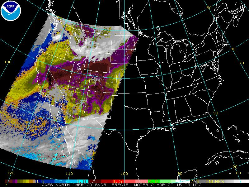 GOES Sounder Precipitable Water Image