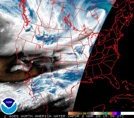 North American Water Vapor Map