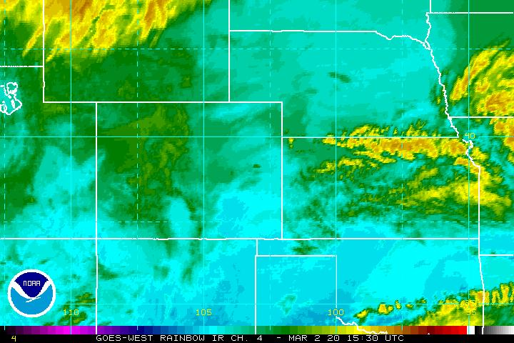 Latest Southern Plains Infra-Red Satellite Image