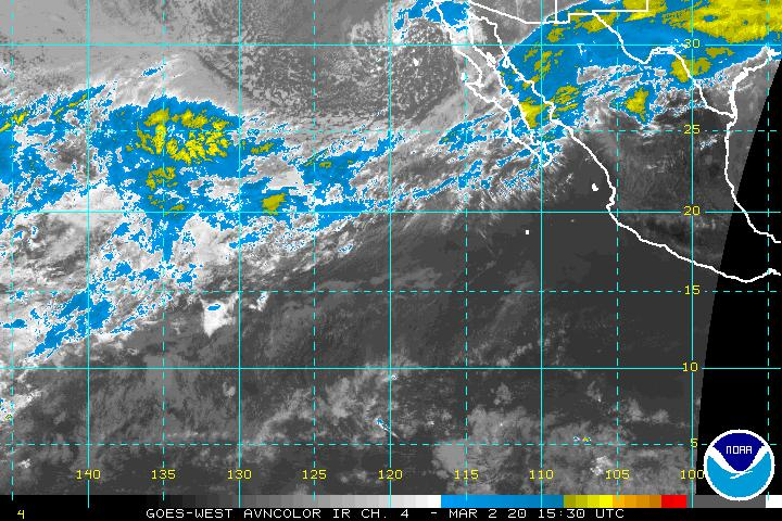 East Pacific satellite photo showing dying tropical storm Agatha (small convective blob) along with strengthening tropical storm Blas which is forecast to become a powerful hurricane over the open Pacific