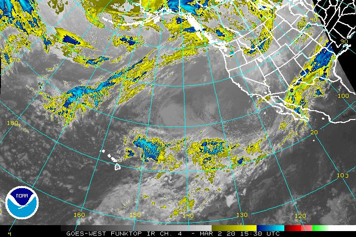 Enhanced IR satellite view of the eastern Pacific - western US