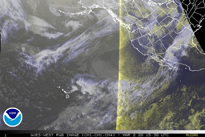Latest North-East Pacific and Western North America Infrared RGB Animated Satellite Loop Thumbnail