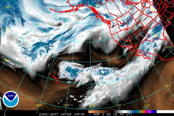 Water Vapor satellite view of the eastern Pacific - western US