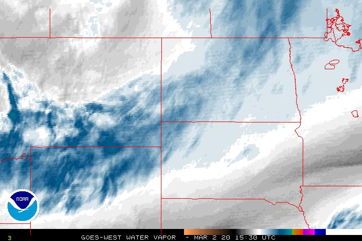Water Vapor Satellite Image Centered on the Northern Plains