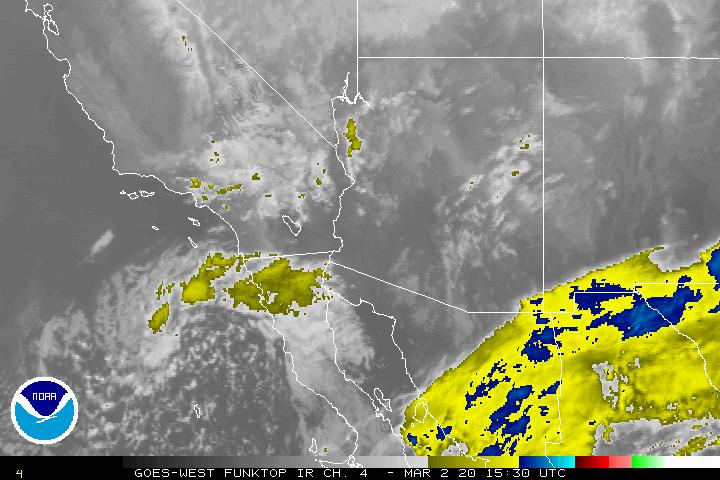 Graphic: NOAA Infared Map from GOES-WEST