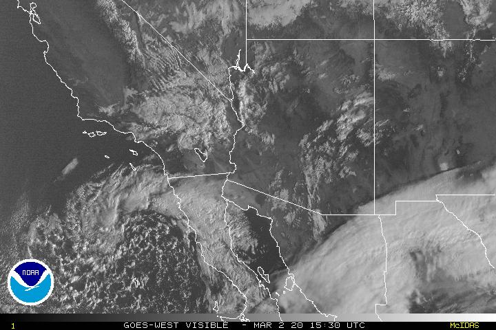 Graphic: NOAA Visability Map from GOES-WEST