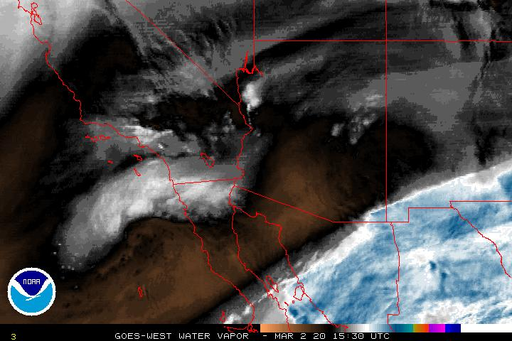 Graphic: NOAA Vapor Map from GOES-WEST