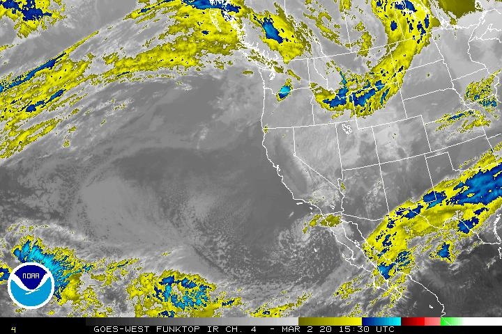 West Coast 8km Enhanced Infrared (IR) Satellite Image